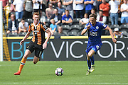 Hull City midfielder Sam Clucas (11) and Leicester City's Andy King (10)  during the Premier League match between Hull City and Leicester City at the KCOM Stadium, Kingston upon Hull, England on 13 August 2016. Photo by Ian Lyall.