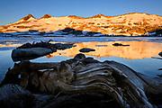 Sunrise on Pyramid Peak behind Lake Aloha in the Desolation wilderness area in south lake tahoe.