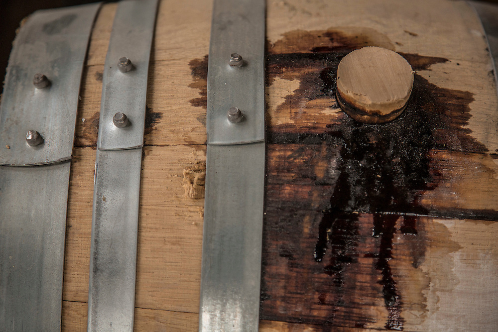 A leaky bung hole in a barrel at Kings County Distillery in the Brooklyn borough of New York, June 27, 2013. Gary He/DRAMBOX MEDIA LIBRARY