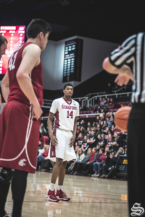 Marcus Sheffield #14 vs. Washington State on January 12, 2017 at Maples Pavilion in Stanford, CA. Photo by Ryan Jae.