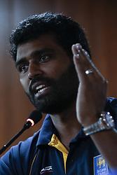 November 29, 2017 - Colombo, Sri Lanka - Sri Lankan cricketer Thisara Perera speaks to media after his appointment as the captain for the One Day International and Twenty-20 cricket series against the Indian cricket team at Colombo, Sri Lanka on Wednesday 29 November 2017. (Credit Image: © Tharaka Basnayaka/NurPhoto via ZUMA Press)