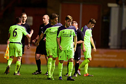 ALTRINGHAM, ENGLAND - Friday, March 10, 2017: Liverpool's Adam Lewis looks dejected after being shown a red card and sent off during an Under-18 FA Premier League Merit Group A match against Manchester United at Moss Lane. (Pic by David Rawcliffe/Propaganda)