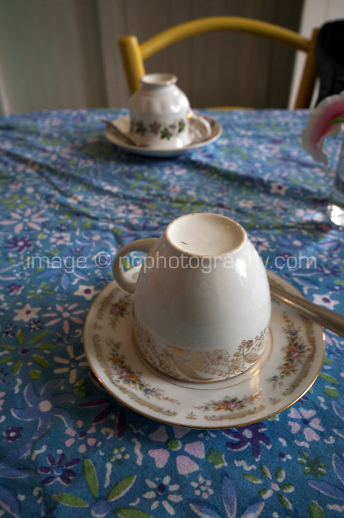 traditional teacup and saucer in cafe in Connemara Galway Ireland