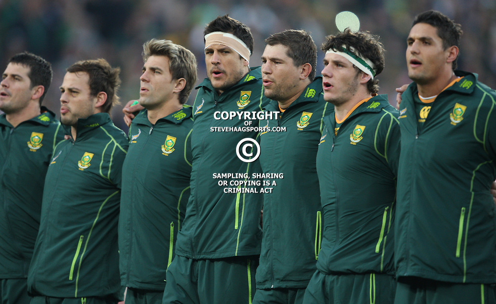 JOHANNESBURG, SOUTH AFRICA - JUNE 16, Players line up during the 2nd Castle Lager Incoming Tour test match between South Africa and England from Coca Cola Park on June 16, 2012 in Johannesburg, South Africa<br /> Photo by Steve Haag / Gallo Images