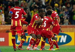 Players of Ghana celebrate after Sulley Muntari of Ghana scored in last minute of first halftime  during to the 2010 FIFA World Cup South Africa Quarter Finals football match between Uruguay and Ghana on July 02, 2010 at Soccer City Stadium in Sowetto, suburb of Johannesburg. (Photo by Vid Ponikvar / Sportida)
