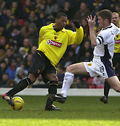 28/02/2004  -  Nationwide Div 1 Watford v Wimbledon.Watford's Micah Hyde, controls the ball as Wimbledon's Ben Chorley runs in.