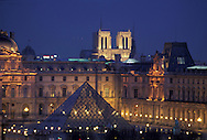 France. Paris. 1st district. Elevated view.  The pyramide of the louvre museum and Notre dame cathedral,  view from  the hotel Meurice. / Architecte, PEY. to use the picture you have to contact the EPGL etablissement public du grand Louvre.