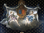 Allegory of the arms of France and  Navarre, 1740. Design for a tapestry by Francois Boucher (1703-1770) French Rococo painter. Kingdoms of France and Navarre united on accession of Henry of Navarre as Henry IV of France in 1589.