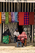 Shops and relaxed local people at Nanyuki on the Equator in Kenya.