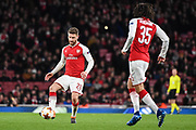 Arsenal Defender Shkodran Mustafi (20) in action during the Europa League match between Arsenal and CSKA Moscow at the Emirates Stadium, London, England on 5 April 2018. Picture by Stephen Wright.