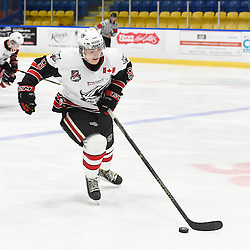 WHITBY, ON - SEP 22,  2016: Ontario Junior Hockey League game between Georgetown and Whitby, Ryan Takamatsu #8 of the Georgetown Raiders skates with the puck during the third period.<br /> (Photo by Andy Cornea / OJHL Images)