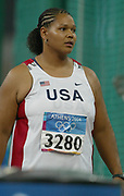 Aretha Hill of the United States aka Aretha Thurmond of the United States has a best effort of 193-3 (58.82m) to finish 10th in her group in the 2004 Olympics in Athens, Greece on Friday, August 20, 2004.