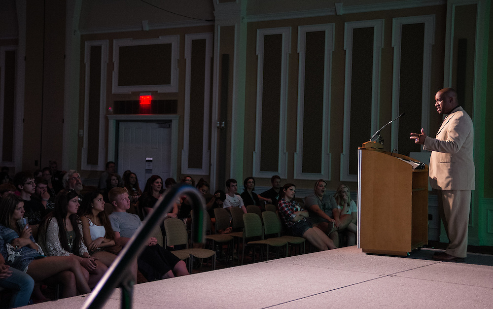 Assistant Dean of Students Jamie Patton addresses students and parents during Bobcat Student Orientation on Thursday, June 4, 2015.  Photo by Ohio University  /  Rob Hardin