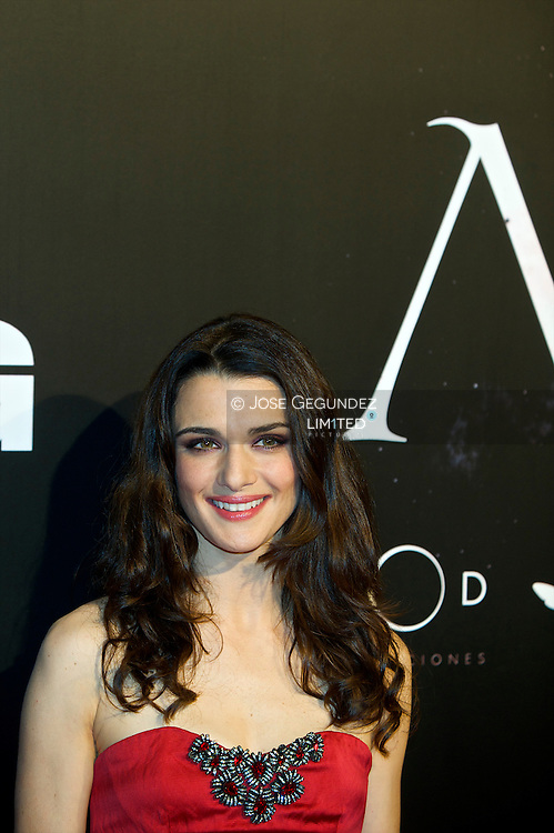 Actress Rachel Weisz and director Alejandro Amenabar attend 'Agora' premiere at Kinepolis Cinema on October 6, 2009 in Madrid, Spain.