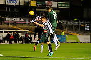 Jorge Grant (17) of Notts County and Josh Clackstone (23) of Notts County battles for possession with Sonny Bradley (15) of Plymouth Argyle during the EFL Sky Bet League 2 match between Plymouth Argyle and Notts County at Home Park, Plymouth, England on 28 February 2017. Photo by Graham Hunt.
