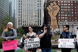 October 6, 2018 - Philadelphia, PA, USA - Activists gather at Philadelphia's Love Park for the annual Philly Trans March, October 6, 2018. March organizers call the event part of a ''revolutionary movement'' seeking ''justice, equity and liberation'' for transgender people. (Credit Image: © Michael Candelori/ZUMA Wire)