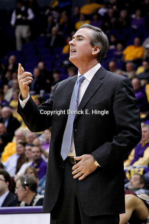 February 14, 2012; Baton Rouge, LA; Mississippi State Bulldogs head coach Rick Stansbury against the LSU Tigers during the first half of a game at the Pete Maravich Assembly Center.  Mandatory Credit: Derick E. Hingle-US PRESSWIRE
