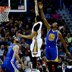 Dec 13, 2016; New Orleans, LA, USA;  New Orleans Pelicans forward Anthony Davis (23) shoots over Golden State Warriors forward Kevin Durant (35) during the first quarter of a game at the Smoothie King Center. Mandatory Credit: Derick E. Hingle-USA TODAY Sports