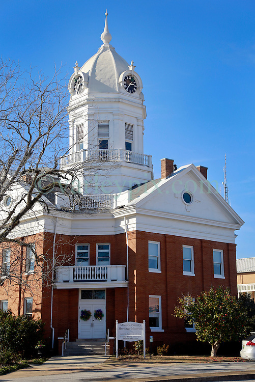 05 February 2015. Monroeville, Alabama.<br /> On the trail of Harper Lee's 'To Kill a Mocking Bird.'<br /> The old courthouse whose courtroom was a model for the movie. The building is now the Monroe County Museum at the center of the old town. <br /> Photo; Charlie Varley/varleypix.com