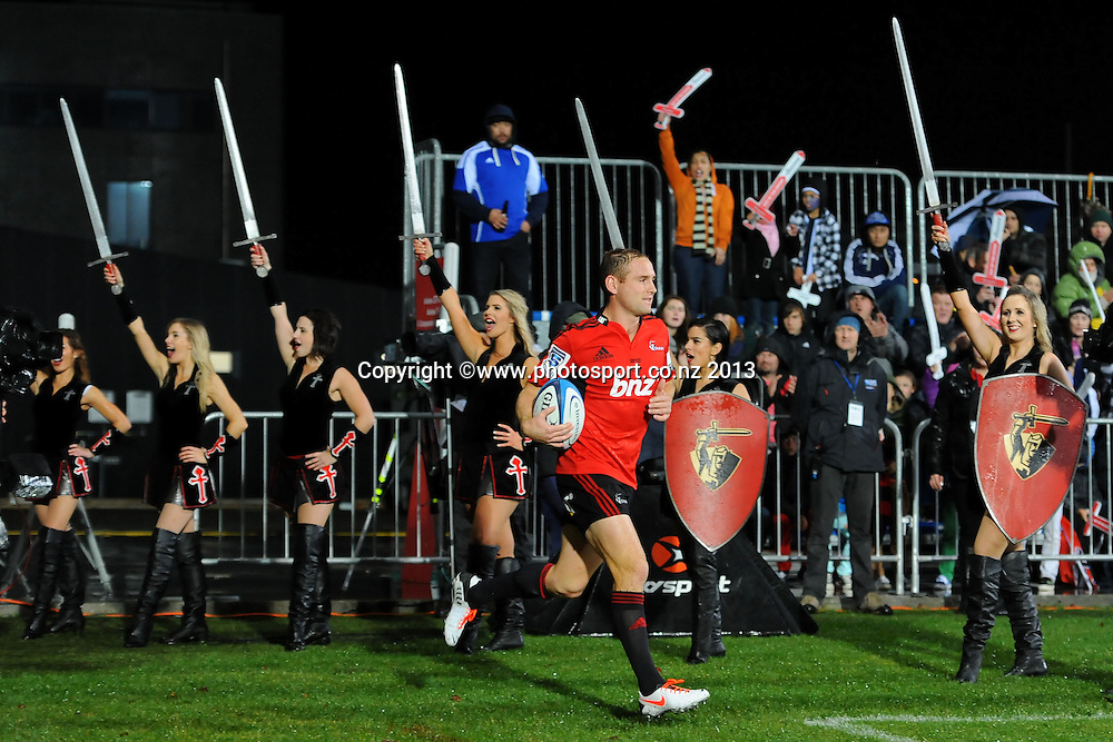 Crusaders Andy Ellis runs on for his 100th game during their Investec Super Rugby game Crusaders v Blues. New AMI Stadium, Christchurch, New Zealand. Saturday 18 May 2013. Photo: Chris Symes/www.photosport.co.nz