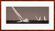 Framed nautical decor sepia tone photograph of former America's Cup 12 Metre Class sailboats racing.