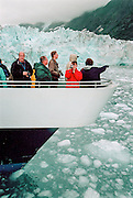 The tourists are back in Prince Willian Sound, once heavily polluted by crude oil caused by the Exxon Valdez tanker. The experts are not sure how much the pollution have impacted on the environment. The catamaran Klondike Express brings the tourist up close to Harvard Glacier. The Harvard Glacier is one of the few glaciers in the world that is actually advancing, and no one knows why.