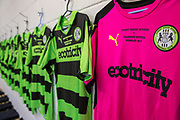 Forest Green Rovers embroidered shirts for the National League play off final during the Forest Green Rovers Press Conference and Training session at the New Lawn, Forest Green, United Kingdom on 12 May 2017. Photo by Shane Healey.