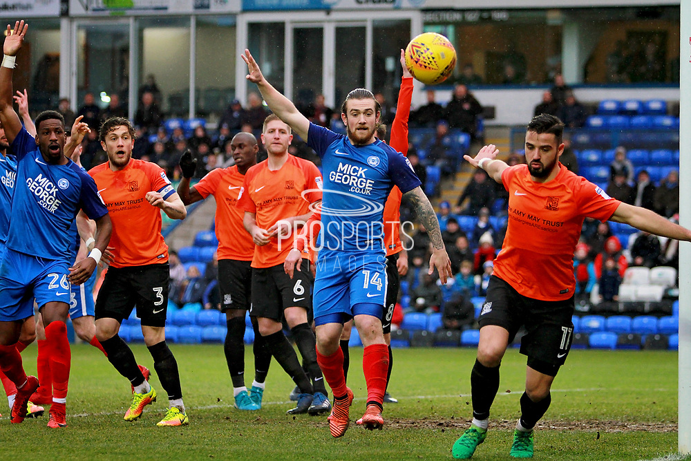 Peterborough United striker Jack Marriott (14) appeals for a corner after another Posh attack during the EFL Sky Bet League 1 match between Peterborough United and Southend United at London Road, Peterborough, England on 3 February 2018. Picture by Nigel Cole.