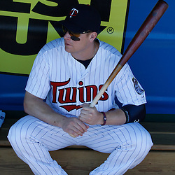 March 13, 2011; Fort Myers, FL, USA; Minnesota Twins first baseman Justin Morneau (33) before a spring training exhibition game against the Philadelphia Phillies at Hammond Stadium.   Mandatory Credit: Derick E. Hingle