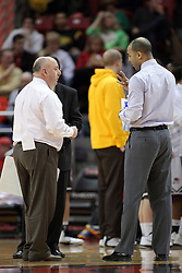 29 December 2014:  Marty Bell, Jestion Anderson during an NCAA non-conference interdivisional exhibition game between the Quincy University Hawks and the Illinois State University Redbirds at Redbird Arena in Normal Illinois.