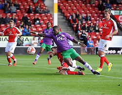 Walsall's Andrew Butler tackles Bristol City's Kieran Agard in the area  - Photo mandatory by-line: Joe Meredith/JMP - Mobile: 07966 386802 - 04/10/2014 - SPORT - Football - Walsall - Bescot Stadium - Walsall v Bristol City - Sky Bet League One