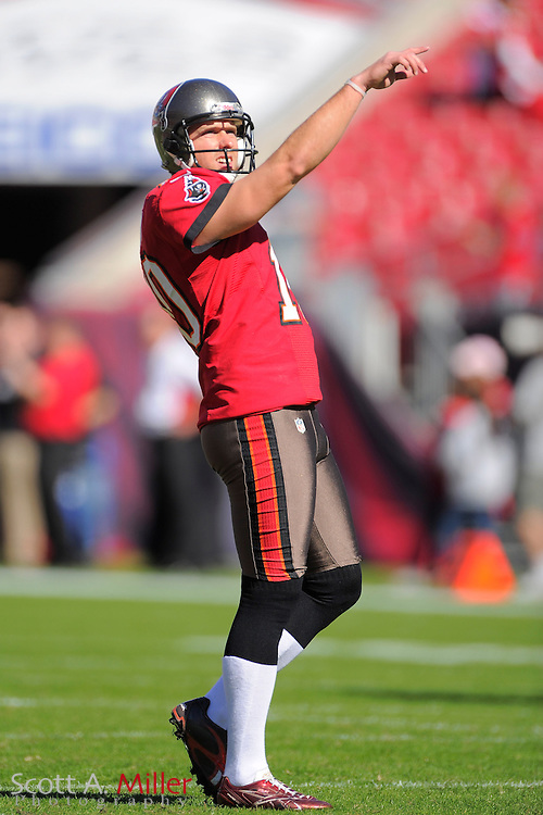 Tampa Bay Buccaneers kicker Connor Barth (10) prior to the Bucs game against the Atlanta Falcons at Raymond James on November 25, 2012 in Tampa, Florida. ...©2012 Scott A. Miller.