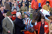 Gold Cup winner 'Best Mate' and jockey Jim Culloty with owner Jim Lewis and trainer Henrietta Knight, Cheltenham Racecourse, UK