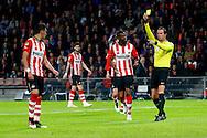 09-04-2016 VOETBAL:PSV:WILLEM II:EINDHOVEN<br /> Hector Moreno van PSV ontvangt een gele kaart van scheidsrechter Bas Nijhuis<br /> Foto: Geert van Erven
