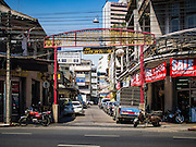 26 FEBRUARY 2016 - BANGKOK, THAILAND: The entrance to the Verng Nakorn Kasem neighborhood. Verng Nakorn Kasem, also known as the Thieves' Market, was one of Bangkok's most famous shopping districts. It is located on the north edge of Bangkok's Chinatown district, it grew into Bangkok's district for buying and selling musical instruments. The family that owned the land recently sold it and the new owners want to redevelop the famous area and turn it into a shopping mall. The new owners have started evicting existing lease holders and many of the shops have closed. The remaining shops expect to be evicted by the end of 2016.      PHOTO BY JACK KURTZ