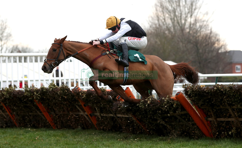 "Shantung ridden by Leighton Aspell competing in the racingtv.com/freetrial Mares' ""National Hunt"" Novices' Hurdle during Midlands Raceday at Warwick Racecourse."