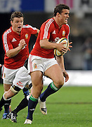 Jamie Roberts of the Lions on the charge with Brian O'Driscoll in support.<br /> Rugby - 090610 - British&Irish Lions v Sharks - ABSA Stadium - Durban - South Africa. The Lions won 37 -3.<br /> Photographer : Anton de Villiers / SASPA