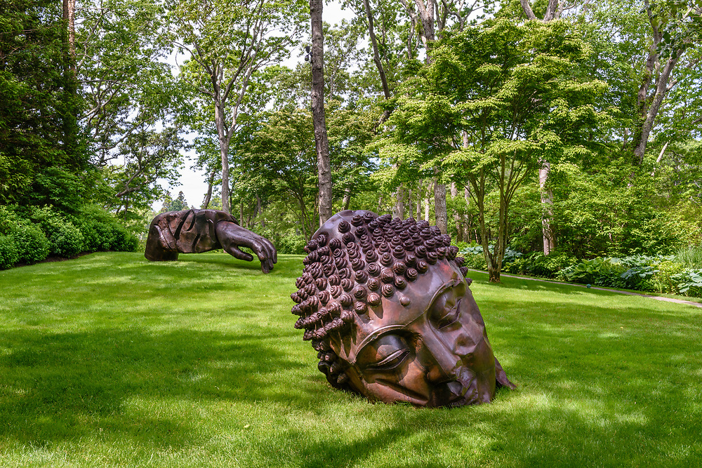Buddha, Sculpture by Zhang Huan,  Garden of Arne and Milly Glimche, Georgica Close Rd, East Hampton, NY, Parrish Art Museum Landscape Pleasure 2017 garden tour