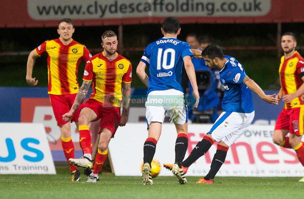 Rangers Daniel Candeias scores his side's second goal of the game during the Betfred Cup, Quarter Final match at the Firhill Stadium, Glasgow.