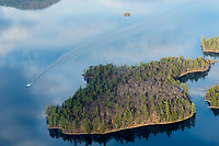 Lakes Biplane flying over Lake Winnipesaukee November, 2012.