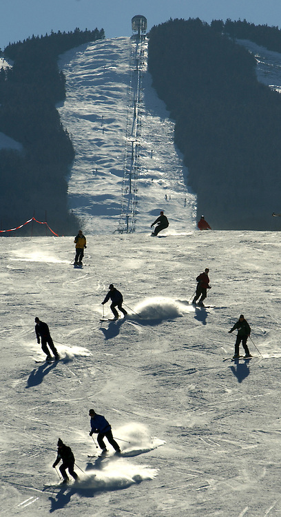 Skiers are seen on the slope at Pico Mountain in Killington, VT.<br /> JUSTIN LANE FOR THE NEW YORK TIMES