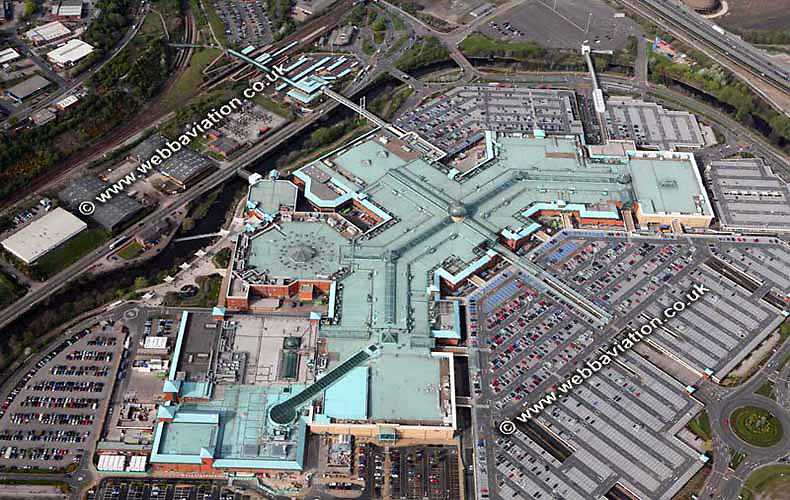 aerial photograph of the Meadowhall Shopping Centre through Sheffield West Yorkshire England UK