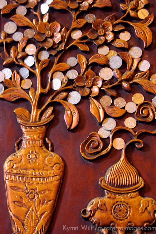 Asia, China, Shanghai. Wood inlay detail at the Jade Buddha Temple.