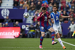 March 4, 2018 - Valencia, Valencia, Spain - Erick Cabaco (L) of Levante UD competes for the ball with Leo Baptistao of RCD Espanyol during the La Liga match between Levante UD and RCD Espanyol at Ciutat de Valencia on March 4, 2018 in Valencia, Spain  (Credit Image: © David Aliaga/NurPhoto via ZUMA Press)