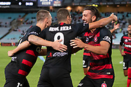 SYDNEY, AUSTRALIA - MARCH 30: Western Sydney Wanderers forward Oriol Riera (9) celebrates his goal at round 23 of the Hyundai A-League Soccer between Western Sydney Wanderers FC and Melbourne City FC on March 30, 2019 at ANZ Stadium in Sydney, Australia. (Photo by Speed Media/Icon Sportswire)