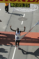 6 March, 2005: Mark Saina of Kenya crosses the finish line in 2:09.35 to win the 20th running of the LA Marathon  in Los Angeles, CA..