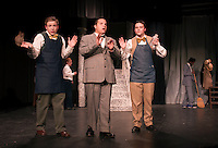 Shawn Zappala as Cornelius Hackl, Quincy Morris as Horace Vandergelder and Michael VonGeorge as BarnabyTucker during dress rehearsal for Hello Dolly at Laconia High School on Monday afternoon.  (Karen Bobotas/for the Laconia Daily Sun)
