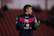 Walsall goalkeeper, Neil Etheridge encourages team mates during the Capital One Cup match between Walsall and Brighton and Hove Albion at the Banks's Stadium, Walsall, England on 25 August 2015.