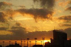 Sunrise in the City Over Stadium