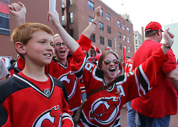 June 2; Newark, NJ, USA; Fans cheer before game 2 of the 2012 Stanley Cup Finals Game 2 at the Prudential Center.